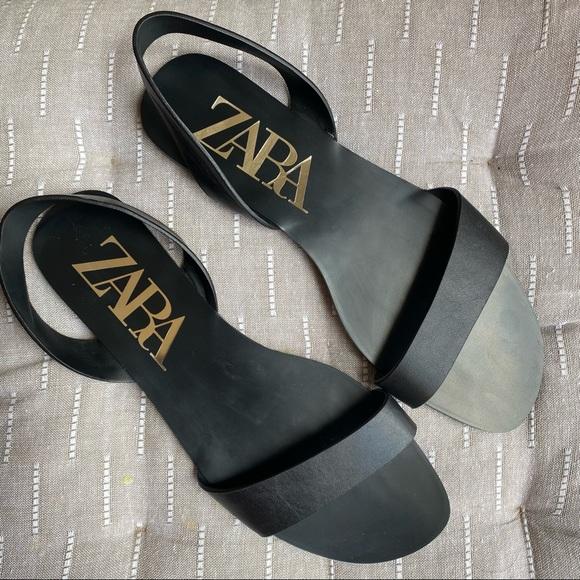 Zara Square Toe Slingback Flat Black Sandals 39 8